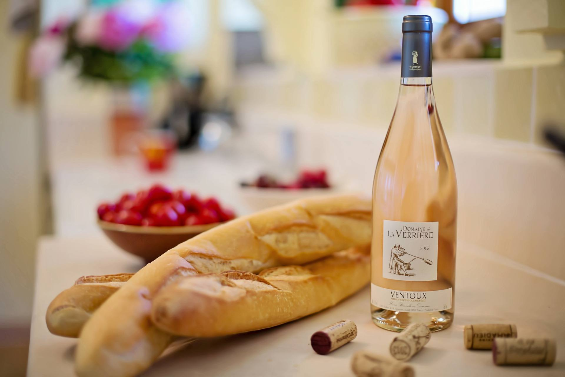 Baguette and wine