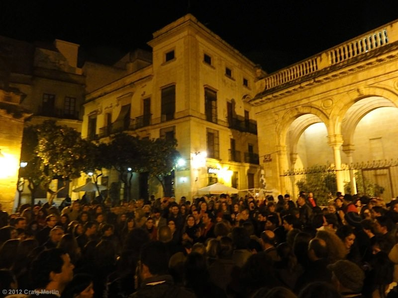 Party in the plaza in Jerez, Spain.