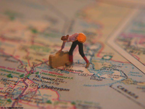 Traveller on map