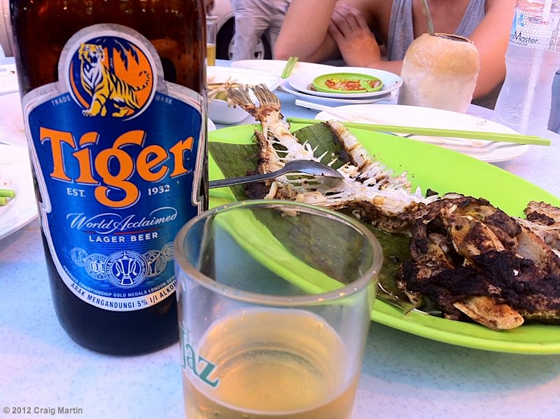 Drinking a cold Tiger and chilling with friends.