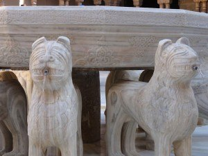 Detail of the Lion Fountain in the Alhambra.