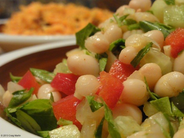 Bean salad and carrot salad.