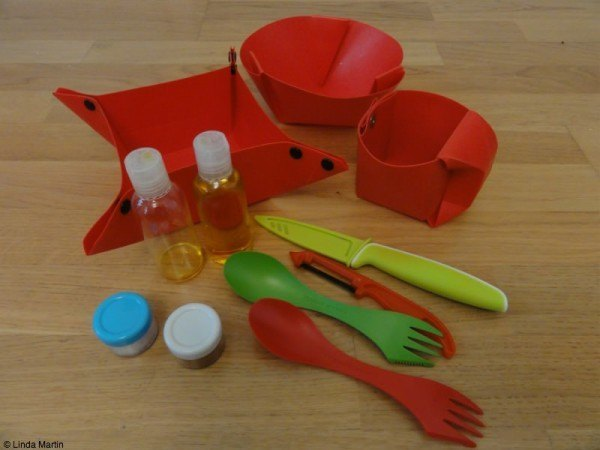Our kitchen equipment included Orikaso plates, sporks, a peeler, and a knife.