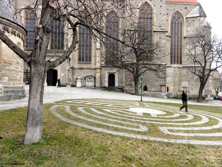 Linda and the labyrinth in Mödling, Austria