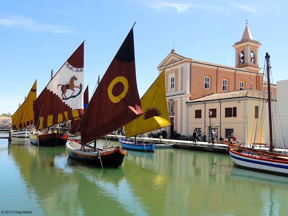 The floating museum in the canal harbour of Cesenatico.