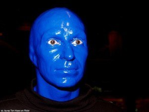 One of the blue men.