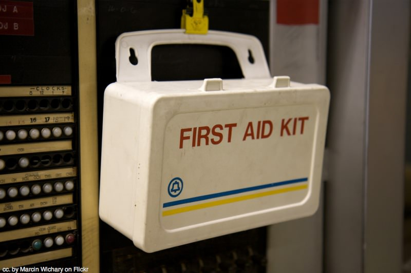 Get a first-aid kit and learn how to use it.
