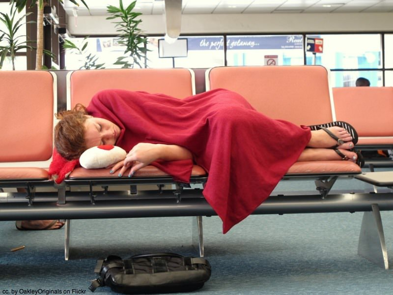 Sleeping in airports.