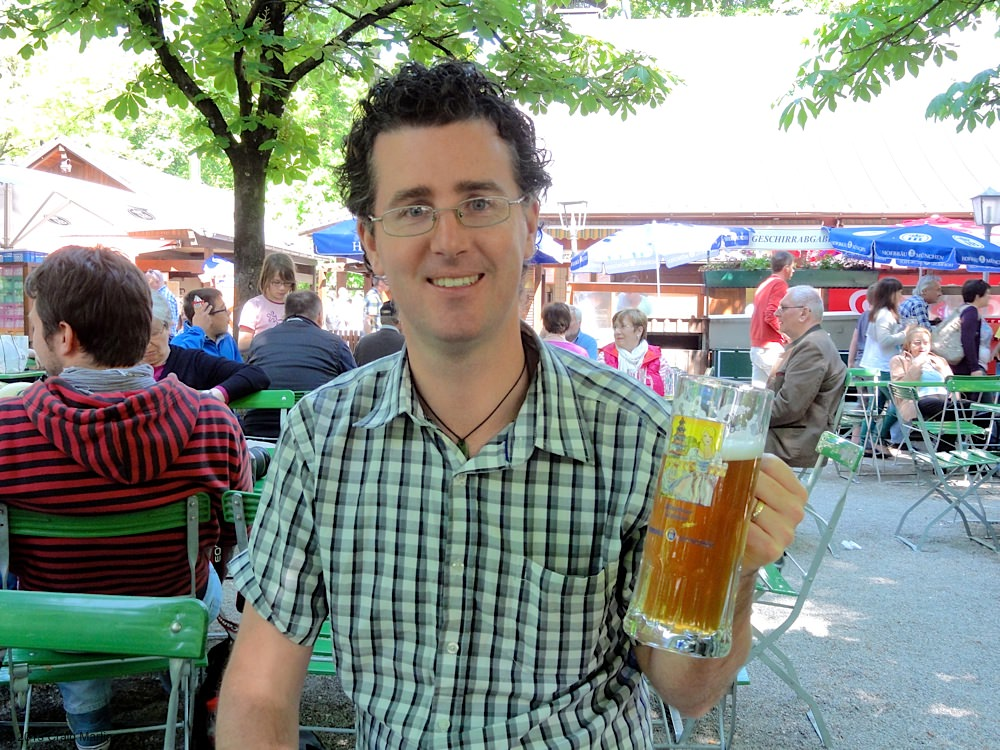 Craig and his beer at the Chinese Tower beer garden,