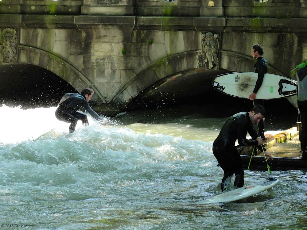 In Munich, you can surf on a river while couchsurfing!