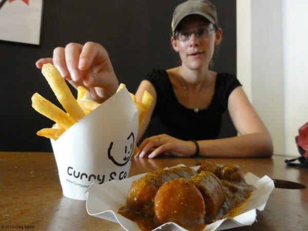 Great eats, like this currywurst with an unusual peanut sauce.