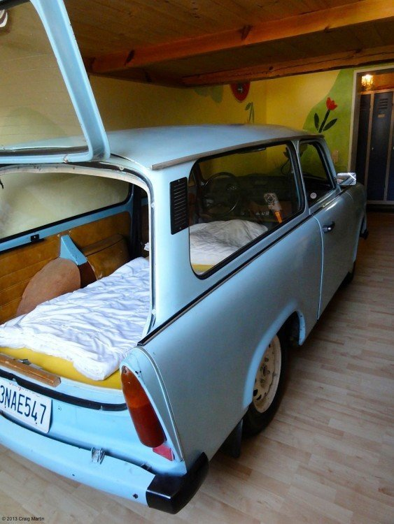 I wasn't joking about the car... We stayed in the Hostel Lollis with a Trabant for a bed.