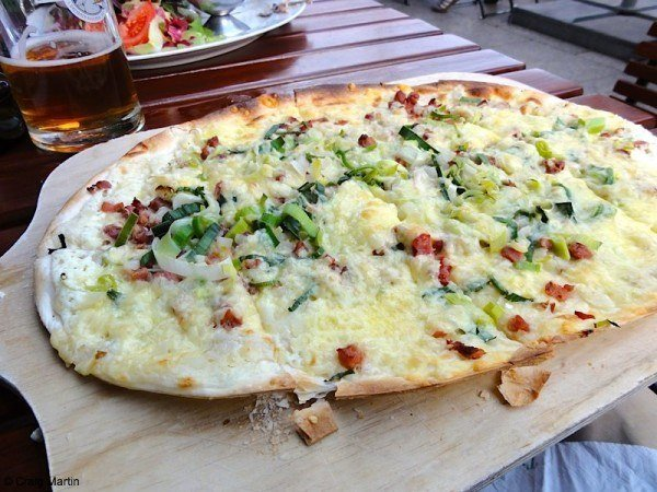 Flammkuchen with beer brewed on site!