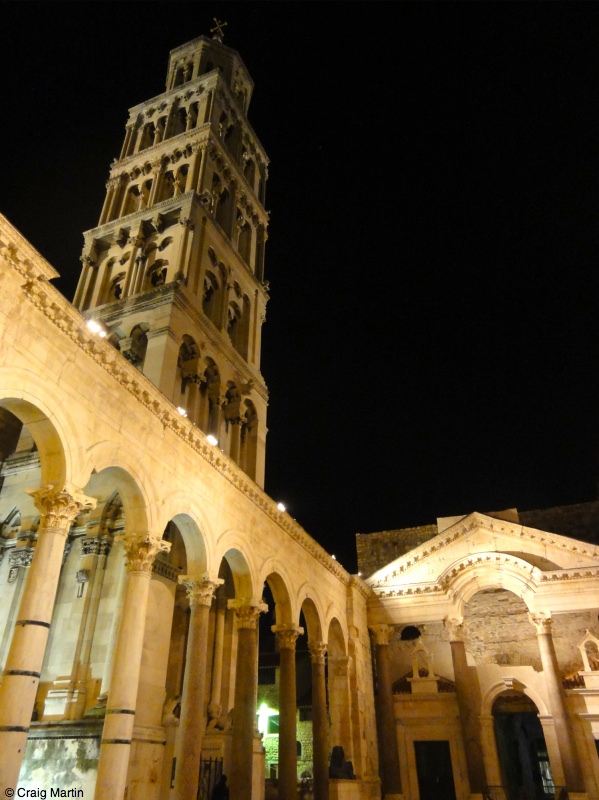 Split's bell tower by night.