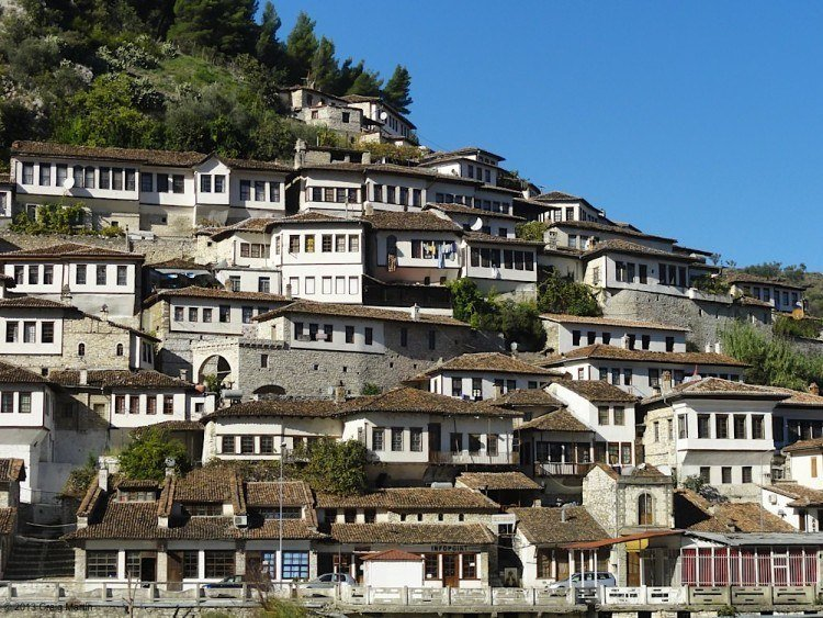 Houses up a hill in Albania