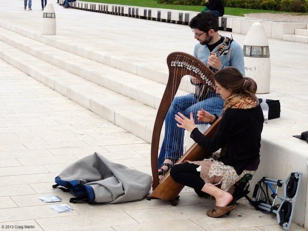Annie and Colin busking on the Zadar waterfront