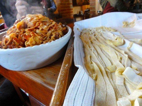 Pasta, before and after.