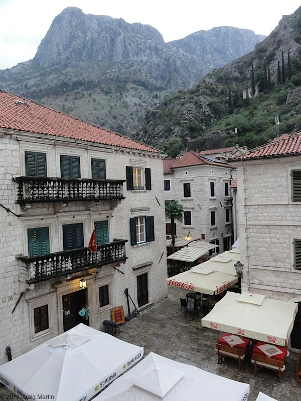 View from the hostel window in Kotor