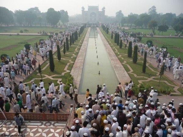 Muslims leaving the Taj Mahal after Eid prayers.