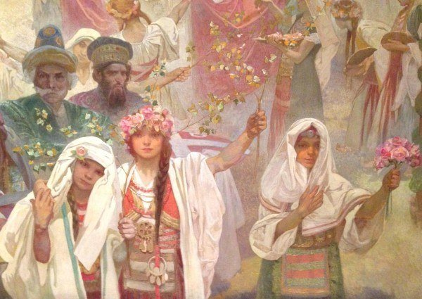 A detail from my favourite of the 20 enormous paintings that make up the Slav Epic.
