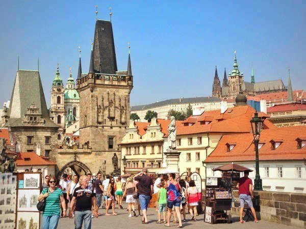 Charles Bridge is always full of tourists.