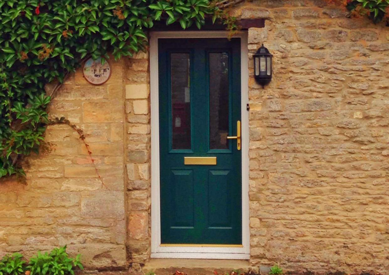 Uk front door with ivy