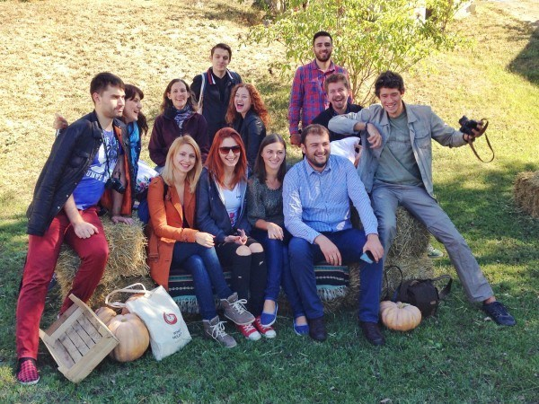 Moldovan and Romanian bloggers at Asconi Winery in Moldova.