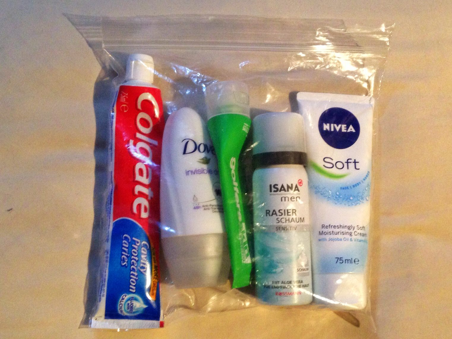 Small toiletries in a plastic bag for flights.