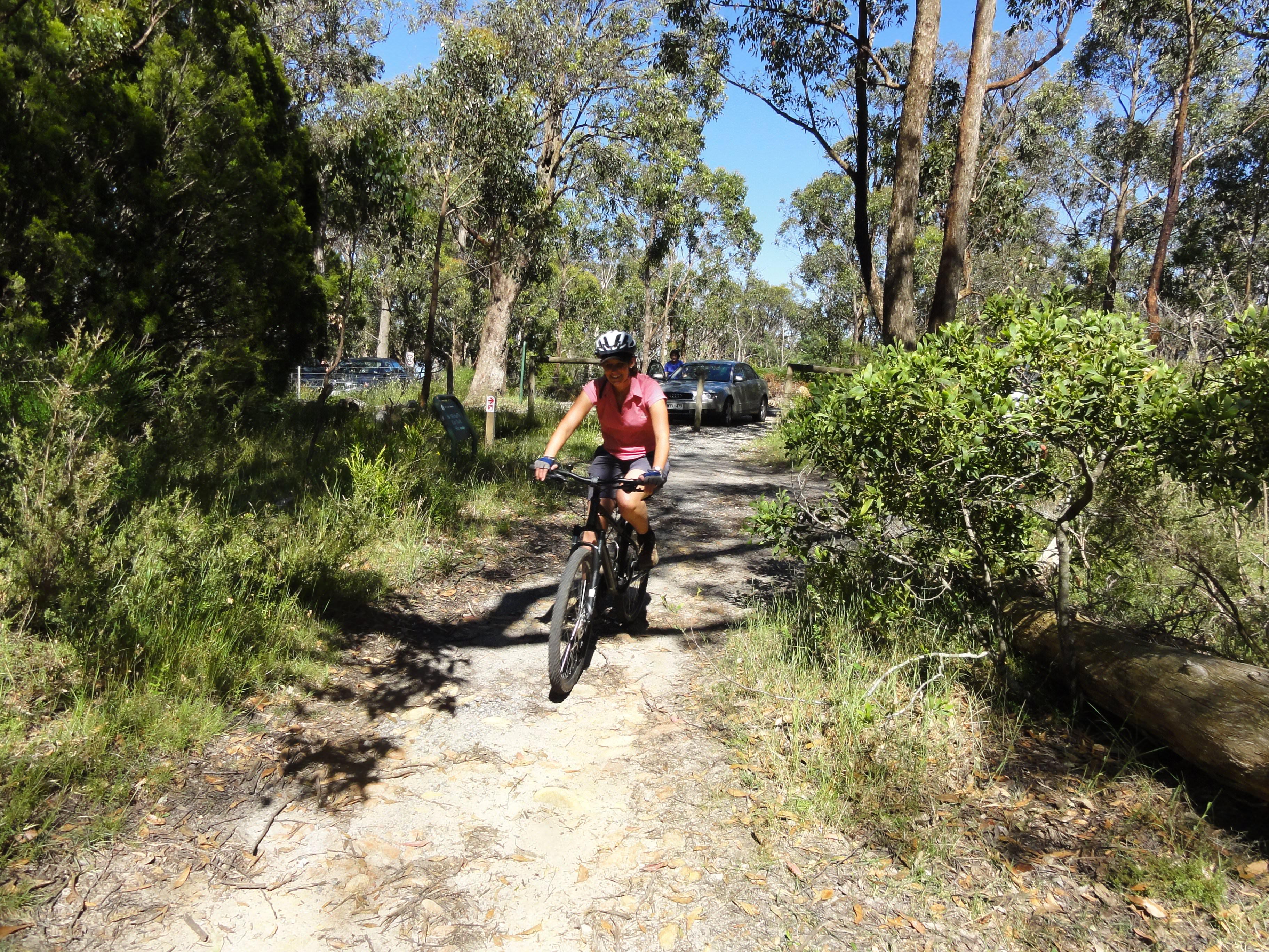 Linda on a bike in Australia