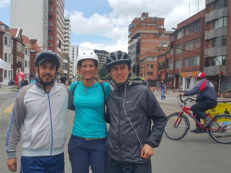 Julian, Linda, and Sebastian on the ciclovia.