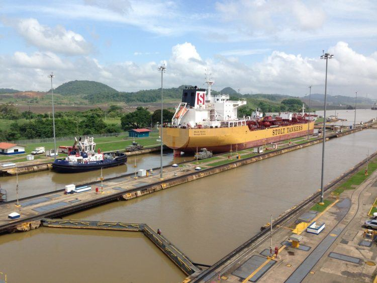 Miraflores locks of Panama Canal