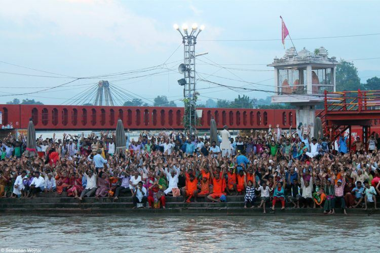 People at the Ganges in Haridwar, India
