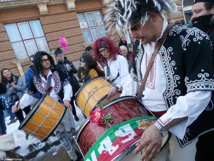 Drums at the International Festival of the Masquerade Games in Pernik, Bulgaria