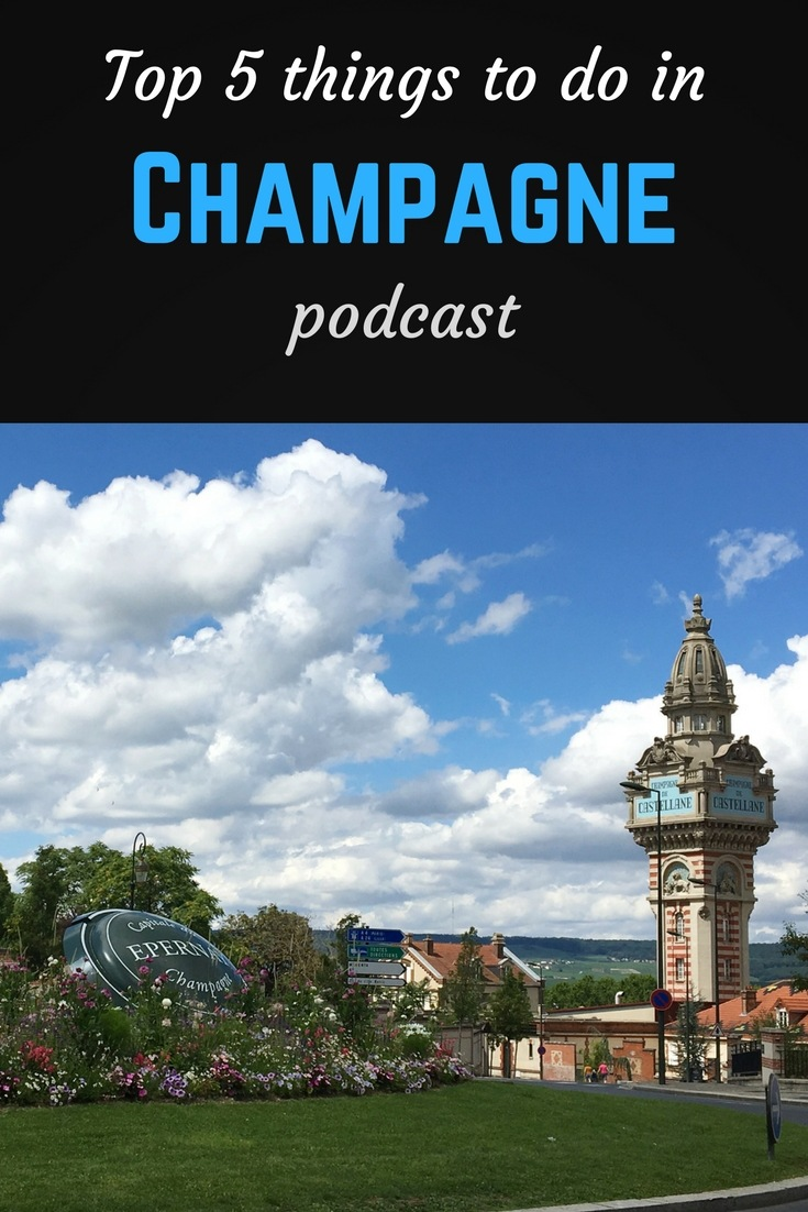 Champagne podcast Pinterest pin