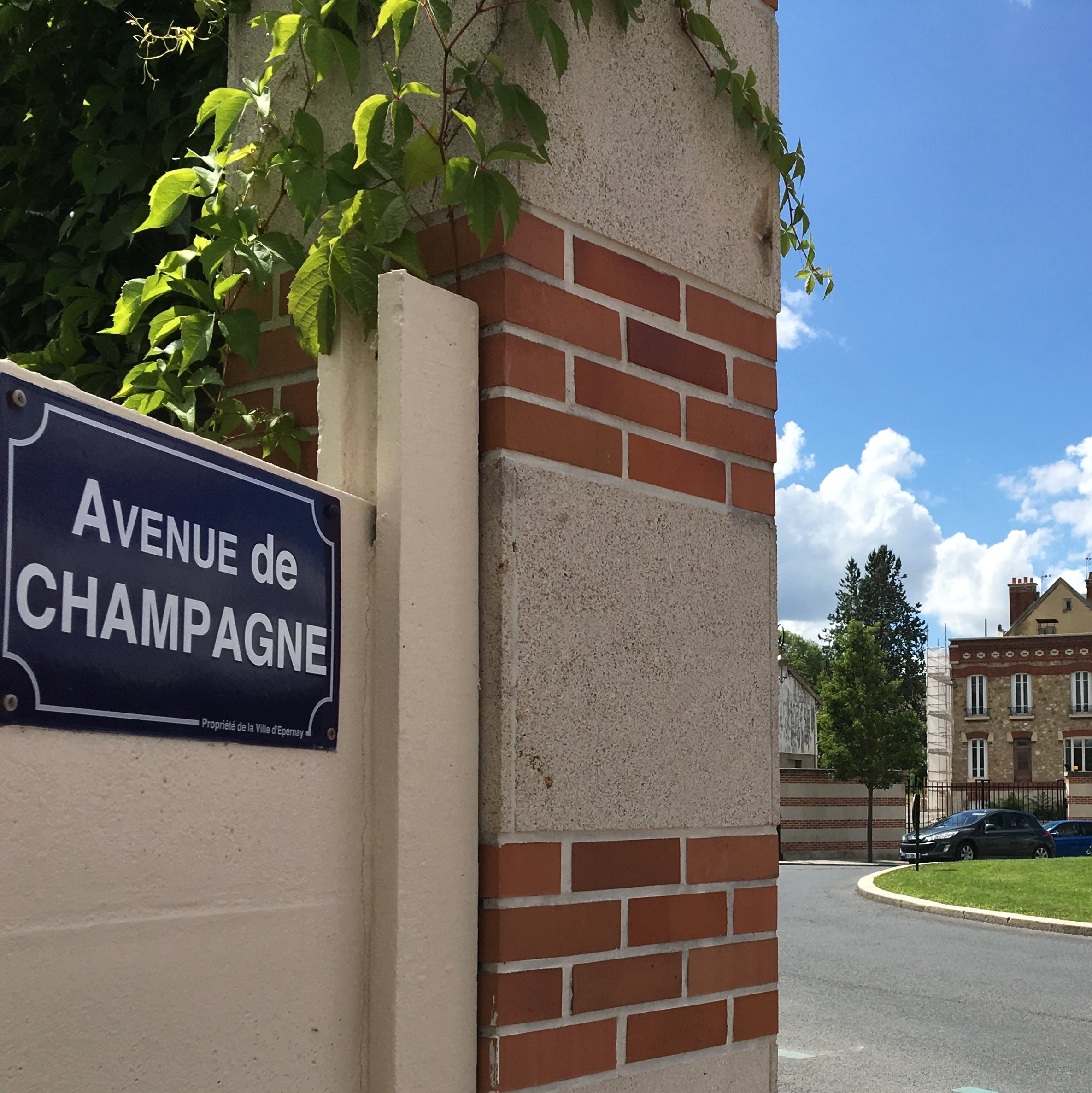 Epernay sign Champagne France square
