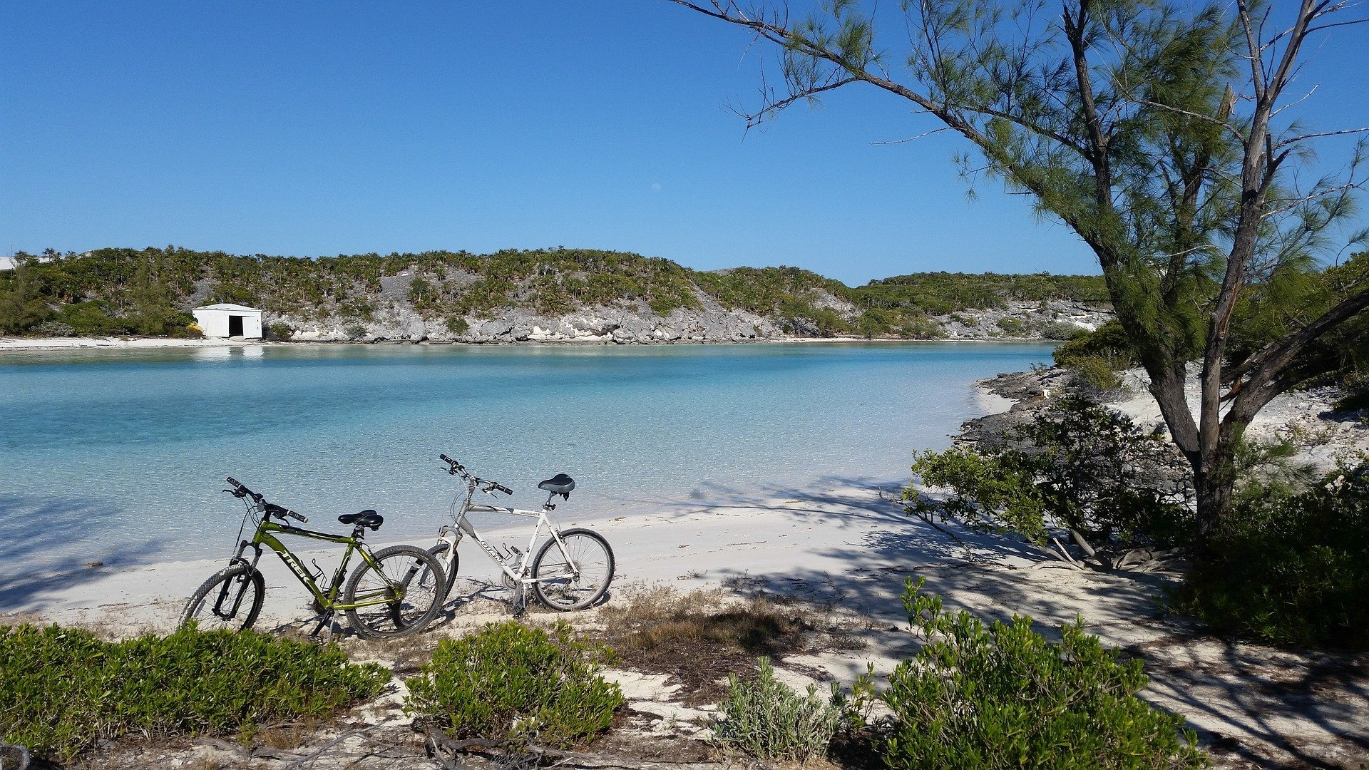 Bikes on a beach in the Bahamas