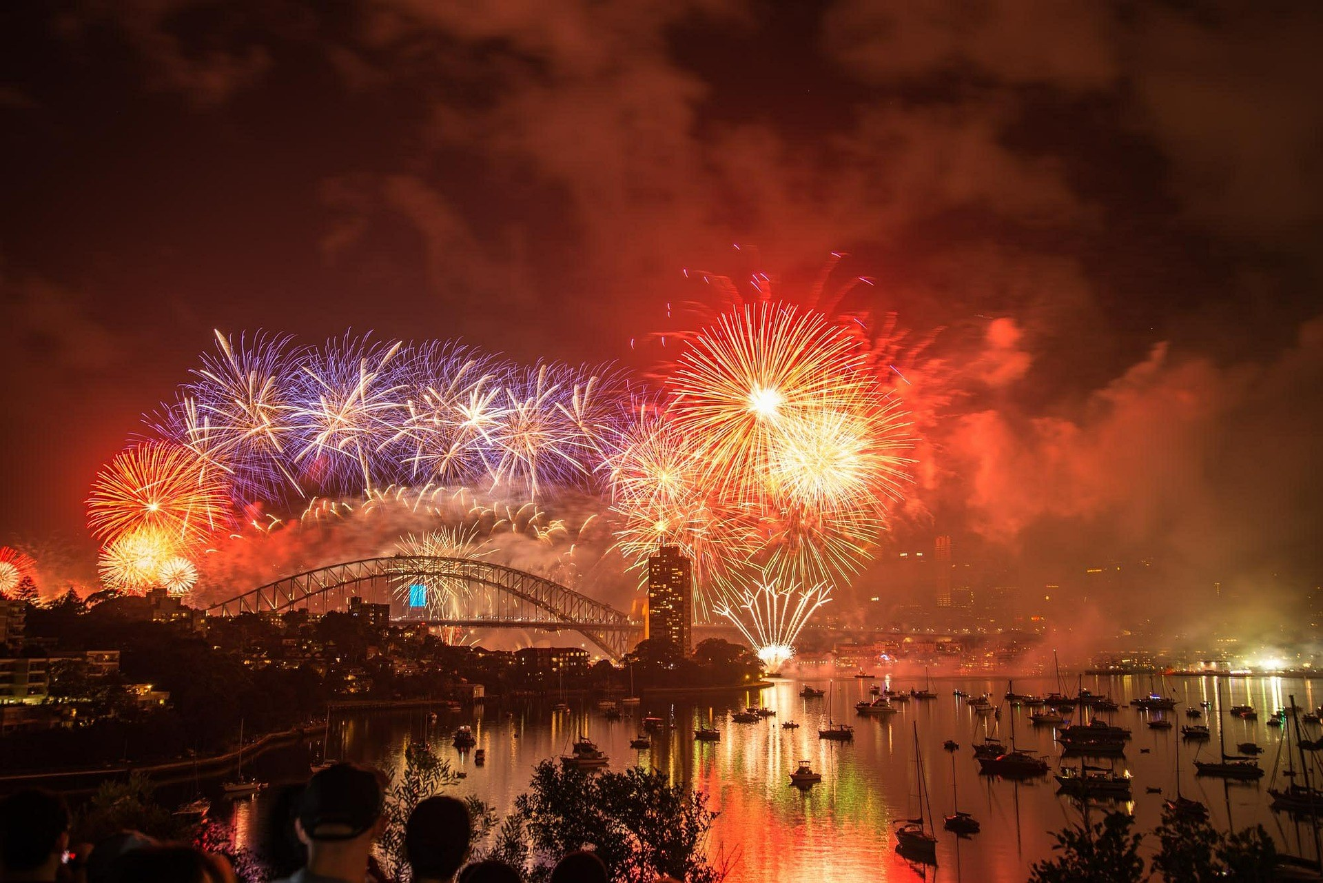 Sydney Harbour Bridge with fireworks at New Year