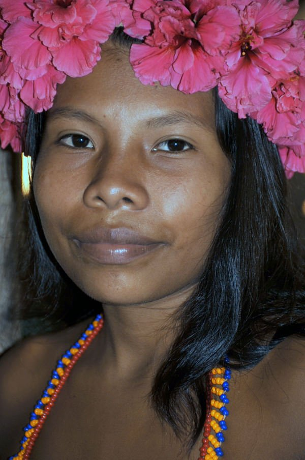 Emberá woman with flowers in her hair