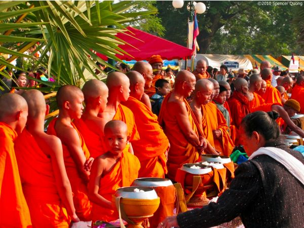 Alms to the Monks That Luang Festival Laos