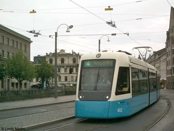Angered Tram runs through Goteborg Sweden