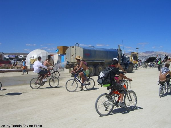 Bikes on the playa, Burning man USA