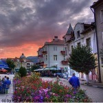 Bulgarian town square in flowers - bulgaria travel information
