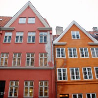 Copenhagen continues the Scandinavian tradition of very colorful houses.