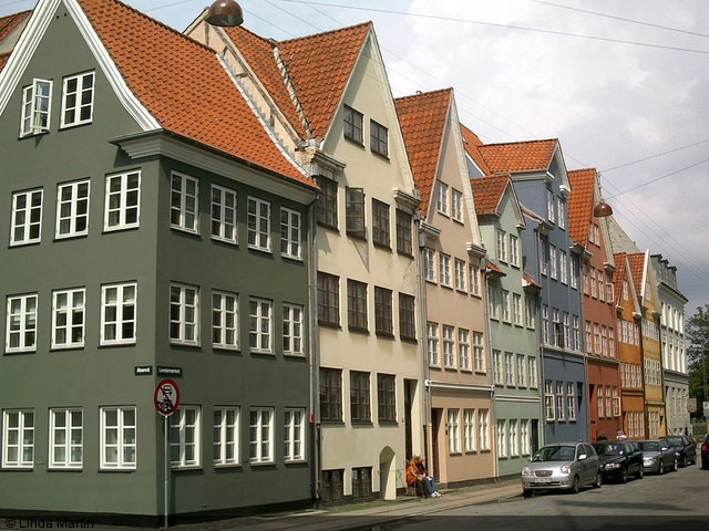 Colourful houses in Copenhagen, Denmark