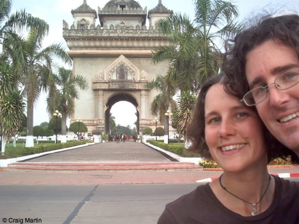 Craig and Linda at the Patuxai Monument, Vientiane, Laos
