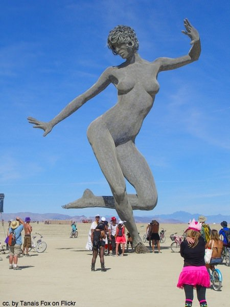 Giant burning man woman