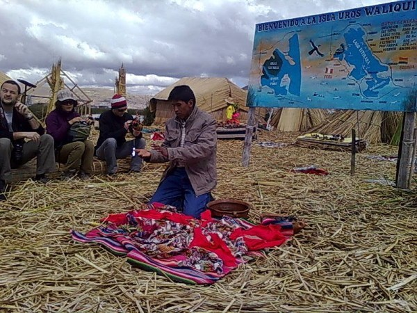 Uros explanation on the floating islands, Lake Titicaca Peru