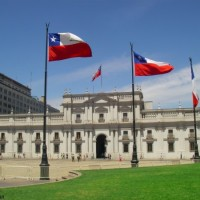 La Moneda, Santiago de Chile with flags