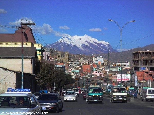 La Paz street and mountain