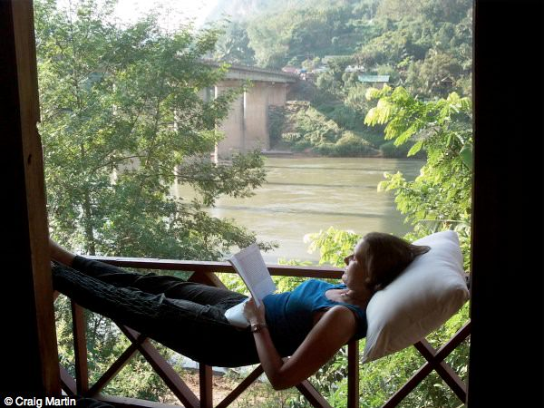 Linda relaxing in Nong Khiaw